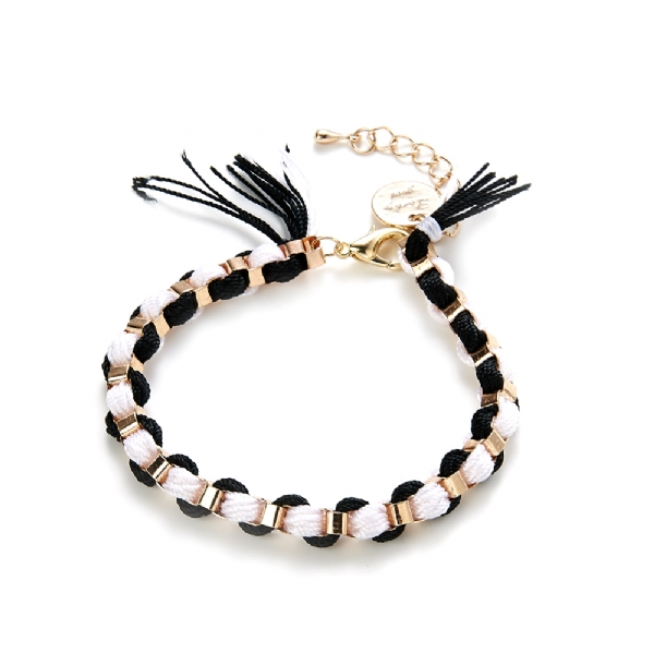 Black, white and gold friendship bracelet